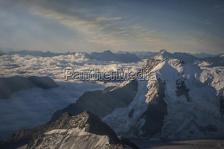 bernese oberland in cloud in switzerland