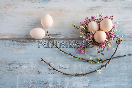 easter still life on vintage wood