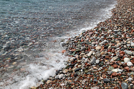 gravel beach at kiotari on rhodes