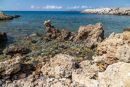 rocky coastline of plimmiri on rhodes