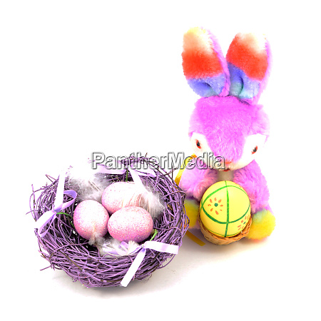easter bunny and nest
