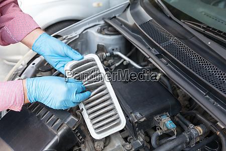 dirty car engine air filter
