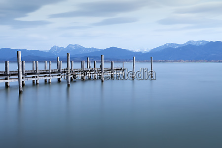 jetty lake chiemsee bavaria germany with