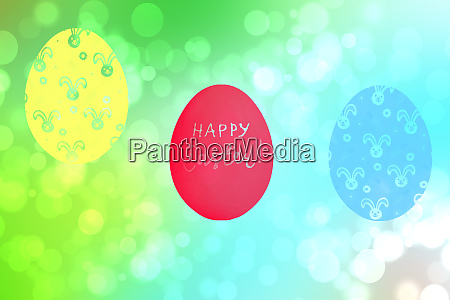happy easter card abstract blue green
