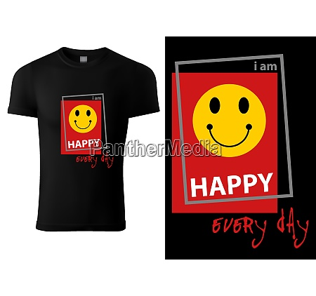 black t shirt design with smiling