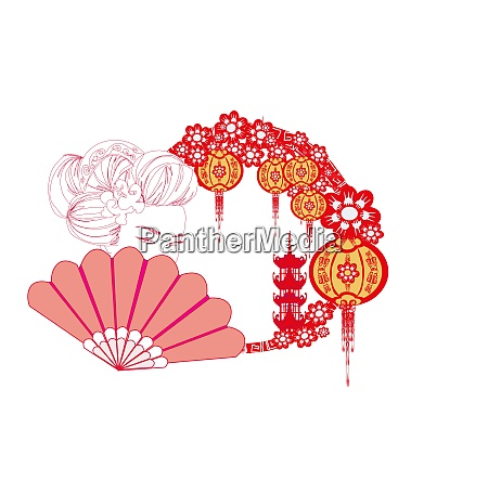 asian girl holding traditional fan