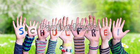 children hands building schulfrei means school