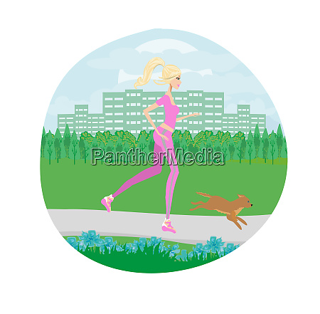 slim girl runs with a dog