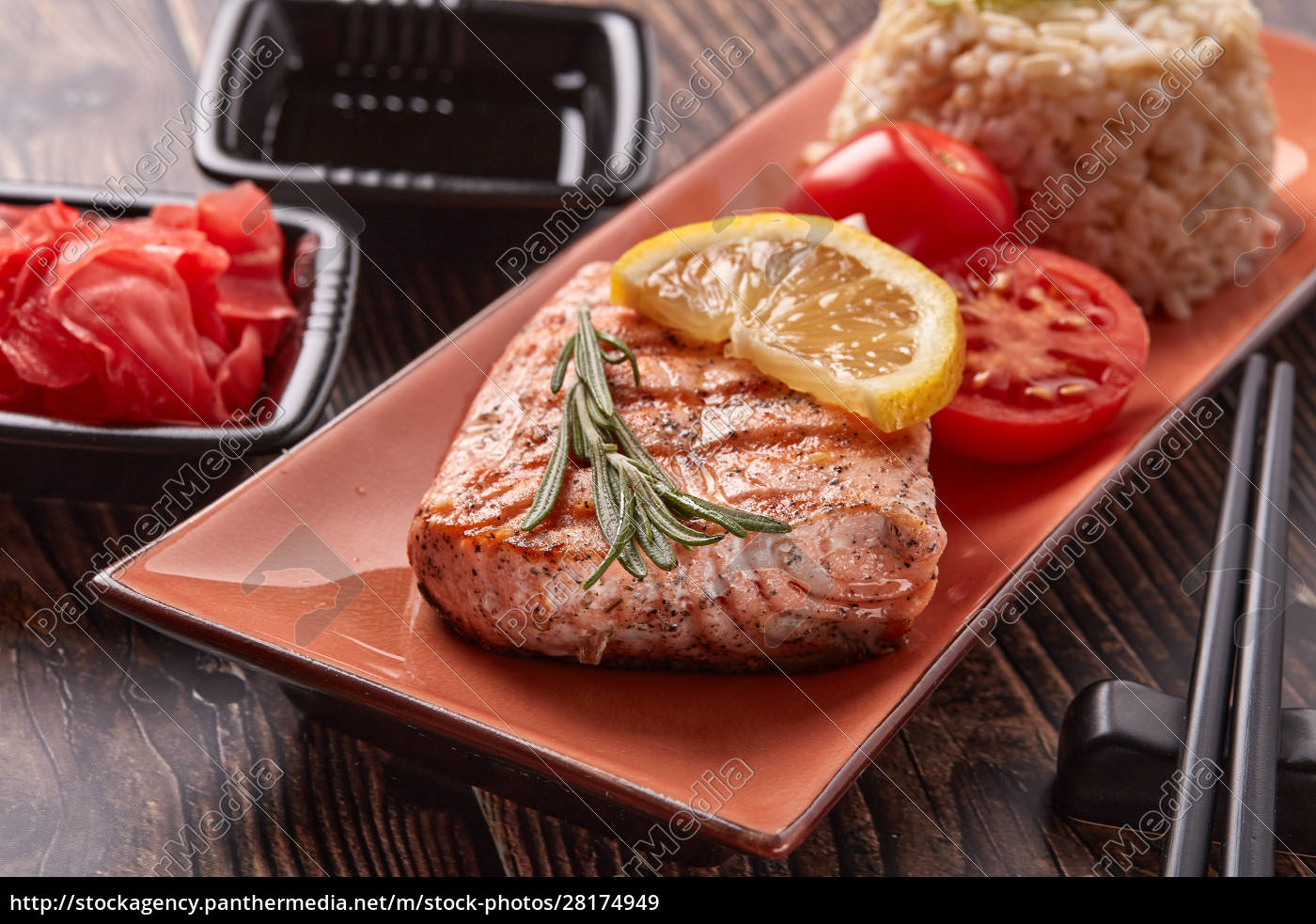 grilled, salmon, with, rice - 28174949