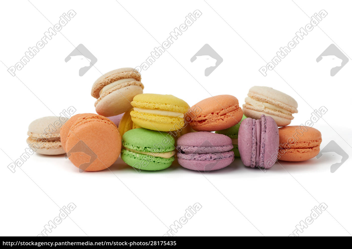 round, baked, multi-colored, almond, flour, cakes - 28175435