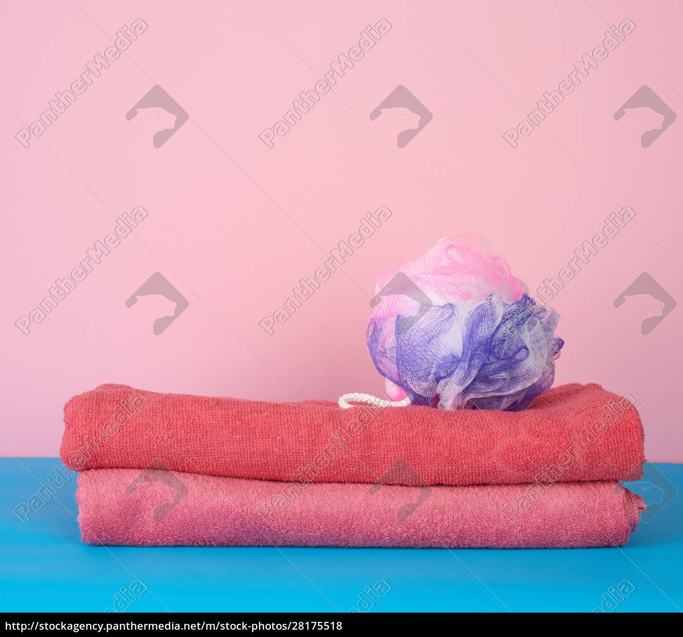 stack, of, pink, folded, towels, and - 28175518