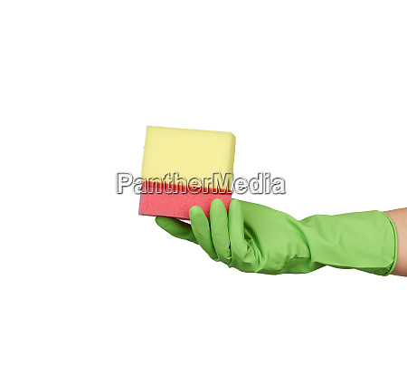wearing, a, green, glove, for, cleaning - 28175511