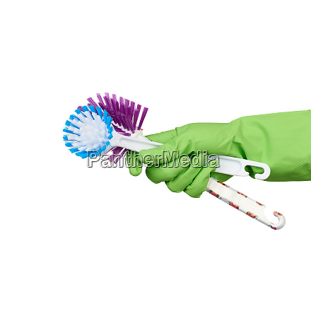 white, plastic, cleaning, brushes, in, hand, - 28175509