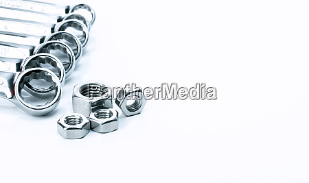 metal hexagon nuts and chrome wrenches