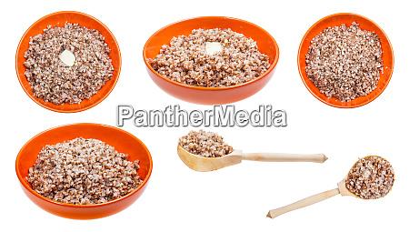 set of portions of buckwheat porridge