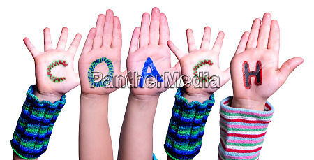 children hands building word coach isolated