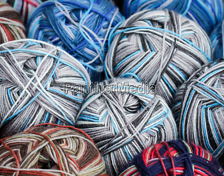 lots of colored wool for knitting