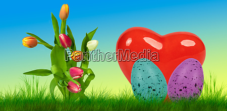 colorful easter background with two easter