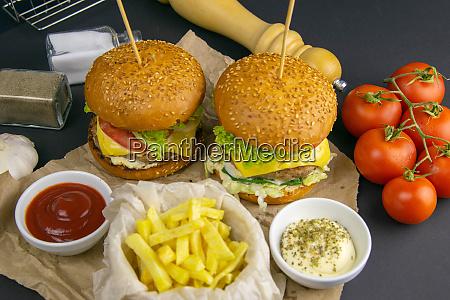 two hamburgers close up on a