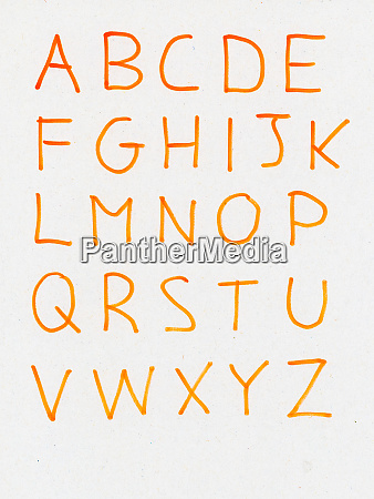 handwritten upper case letters of the