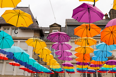 colorful umbrellas hanging over the square