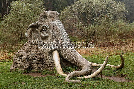 statue of mammoth in the landscape