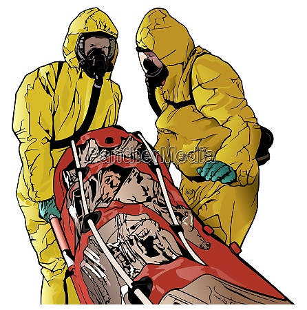 medical workers in protective suits with
