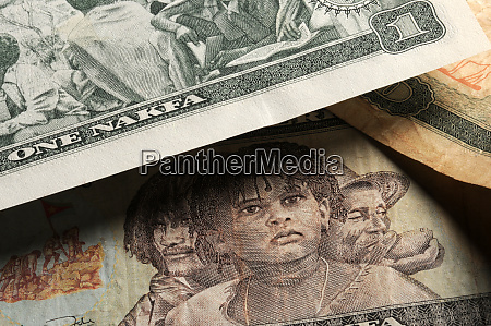 close up on many banknotes of