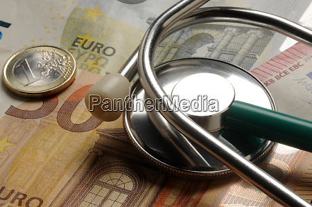 stethoscope on various europeans banknotes