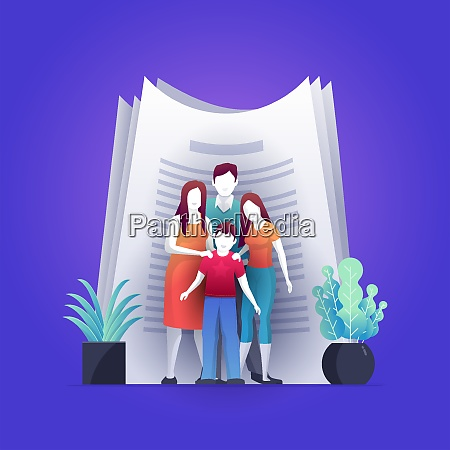 family assurance contract concept vector illustration