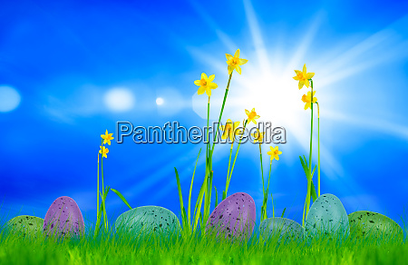 easter card with easter eggs and