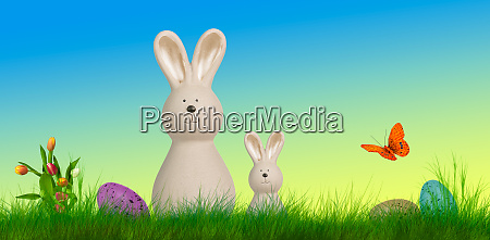 colorful easter background with bunnies and