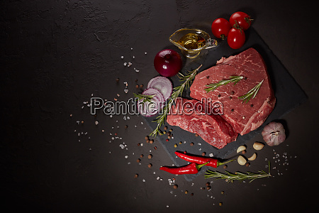 raw fillet beef with spices