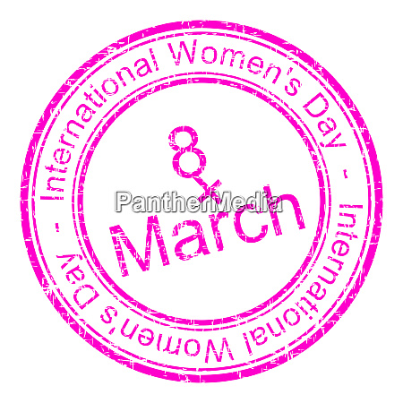 pink international womens day rubber stamp