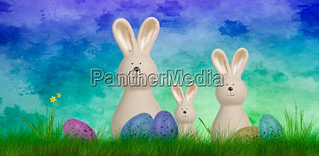 colorful, easter, background, with, three, bunnies - 28182135