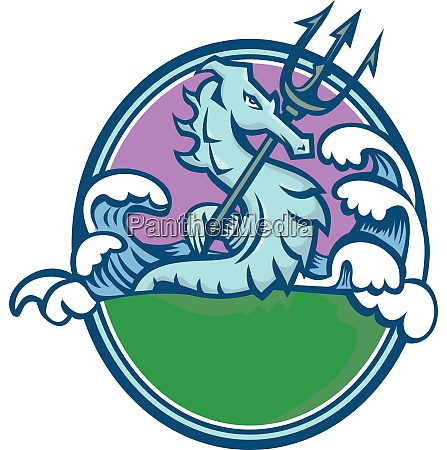 seahorse with trident mascot oval