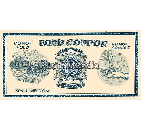 vintage american food coupon drawing