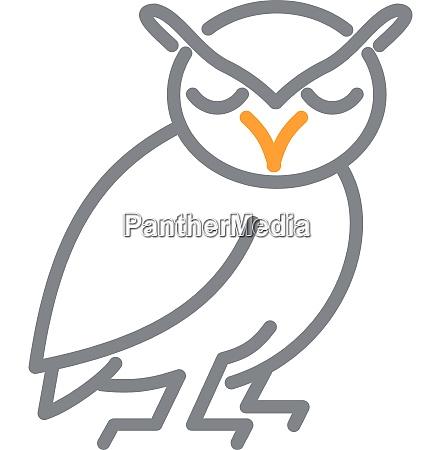 great horned owl full body mline