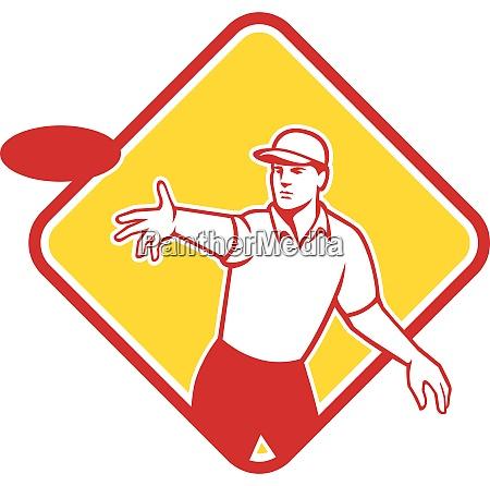 disc golf player throwing mascot diamond