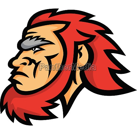 caveman head side mascot