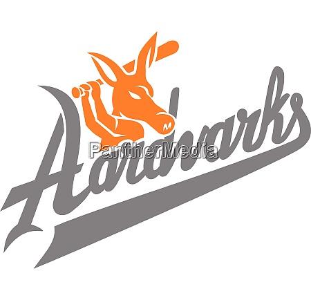 aardvark baseball player batting text mascot