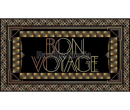 golden decorative bon voyage sign with