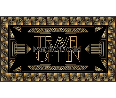 golden decorative travel often sign with