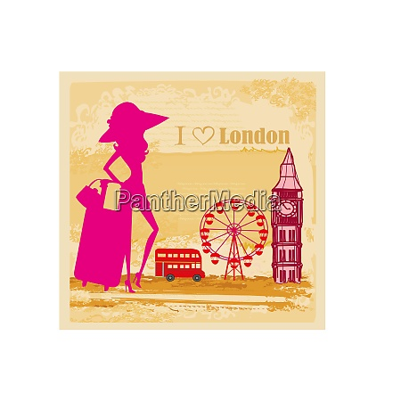 elegant tourist in london abstract card