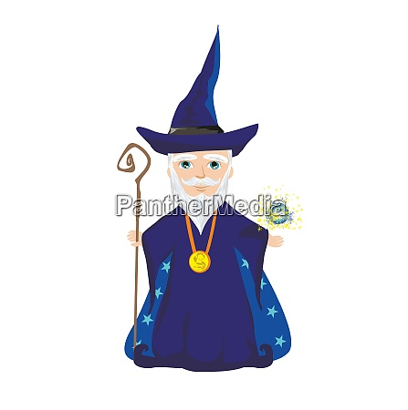 funny wizard with a magic ball