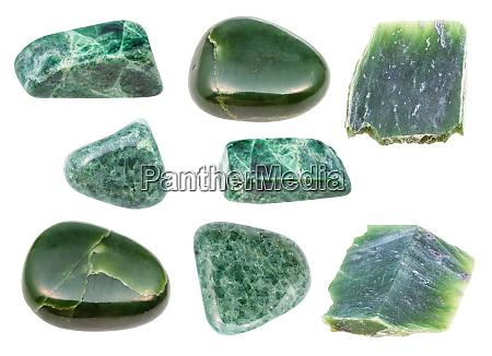 set of various green jade gemstones