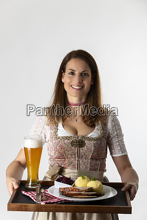 woman in a bavarian dirndl with