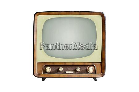 vintage crt tv set isolated on
