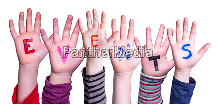 children hands building word events isolated