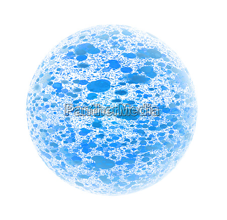 blue particles flowing inside a sphere